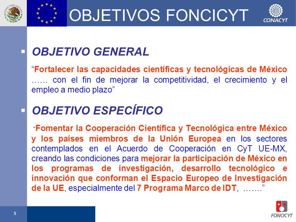 5 OBJETIVOS FONCICYT OBJETIVO GENERAL Fortalecer las capacidades científicas y tecnológicas de México …… con el fin de mejorar la competitividad, el c