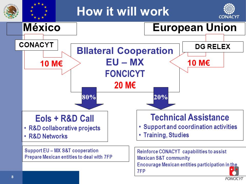 8 BIlateral Cooperation EU – MX FONCICYT 20 M How it will work European UnionMéxico 10 M 80% EoIs + R&D Call R&D collaborative projects R&D Networks Support EU – MX S&T cooperation Prepare Mexican entities to deal with 7FP 10 M DG RELEX CONACYT Reinforce CONACYT capabilities to assist Mexican S&T community Encourage Mexican entities participation in the 7FP 20% Technical Assistance Support and coordination activities Training, Studies