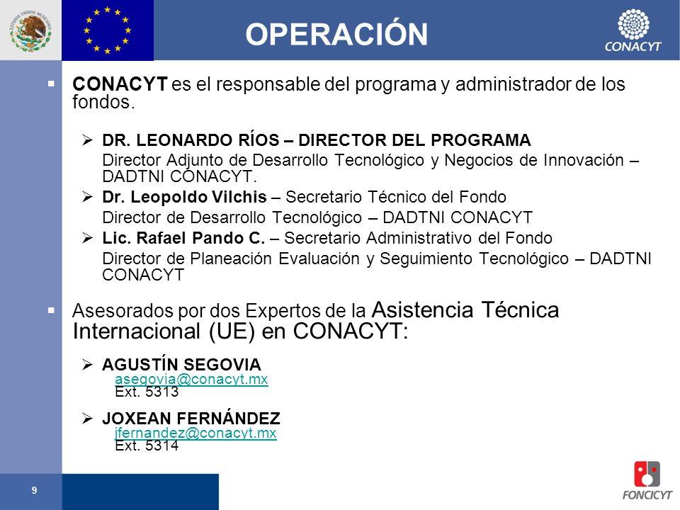 9 OPERACIÓN CONACYT es el responsable del programa y administrador de los fondos. DR. LEONARDO RÍOS – DIRECTOR DEL PROGRAMA Director Adjunto de Desarr