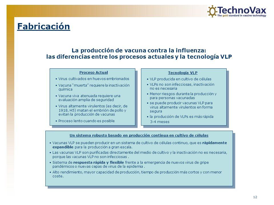 12 Fabricación La producción de vacuna contra la influenza: las diferencias entre los procesos actuales y la tecnología VLP Proceso Actual Virus culti