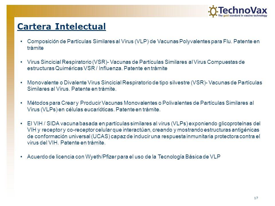 17 Cartera Intelectual Composición de Partículas Similares al Virus (VLP) de Vacunas Polyvalentes para Flu. Patente en trámite Virus Sincicial Respira