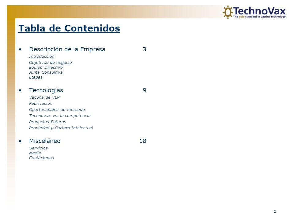 2 Tabla de Contenidos Descripción de la Empresa3 Introducción Objetivos de negocio Equipo Directivo Junta Consultiva Etapas Tecnologías9 Vacuna de VLP