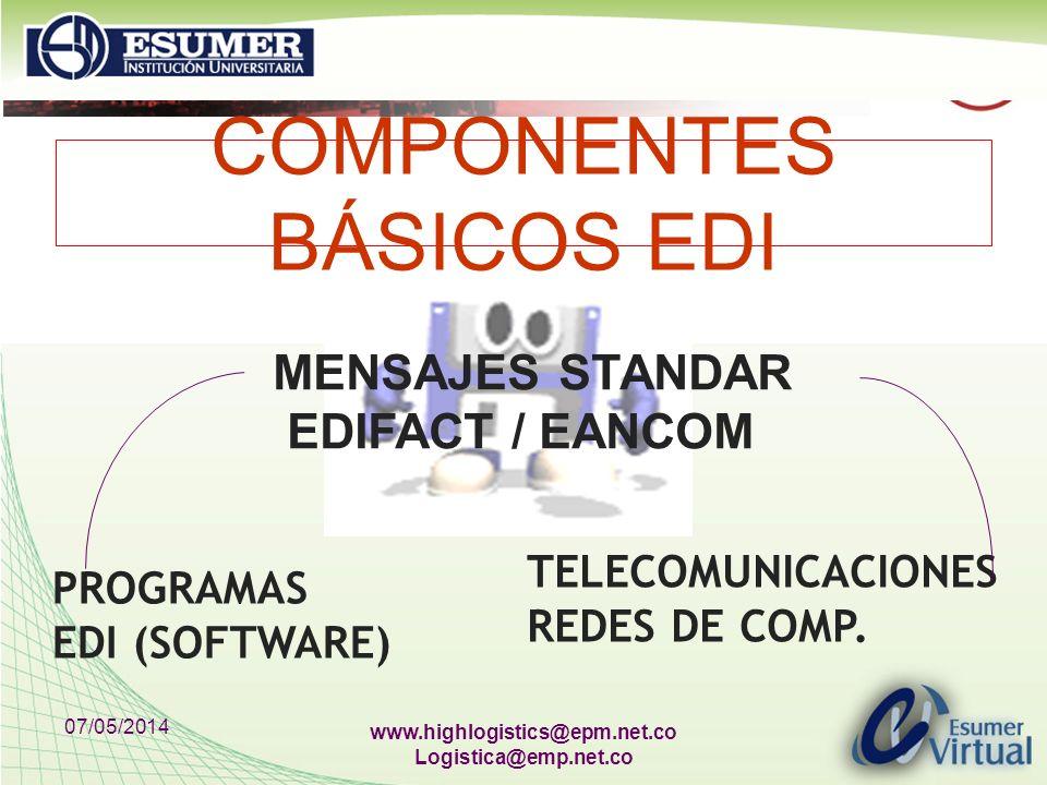 07/05/2014 www.highlogistics@epm.net.co Logistica@emp.net.co COMPONENTES BÁSICOS EDI PROGRAMAS EDI (SOFTWARE) TELECOMUNICACIONES REDES DE COMP. MENSAJ