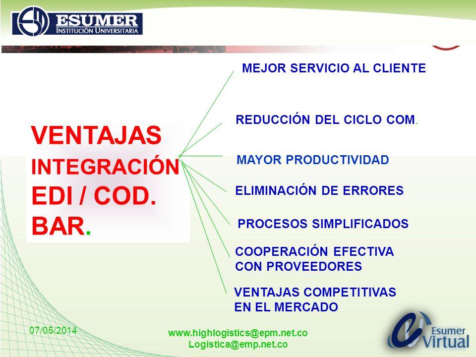 07/05/2014 www.highlogistics@epm.net.co Logistica@emp.net.co VENTAJAS INTEGRACIÓN EDI / COD. BAR. MEJOR SERVICIO AL CLIENTE REDUCCIÓN DEL CICLO COM. M