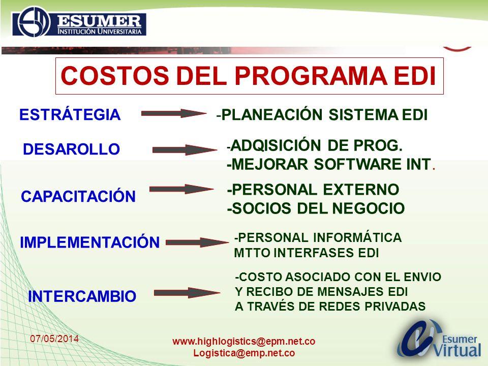 07/05/2014 www.highlogistics@epm.net.co Logistica@emp.net.co COSTOS DEL PROGRAMA EDI ESTRÁTEGIA -PLANEACIÓN SISTEMA EDI DESAROLLO - ADQISICIÓN DE PROG
