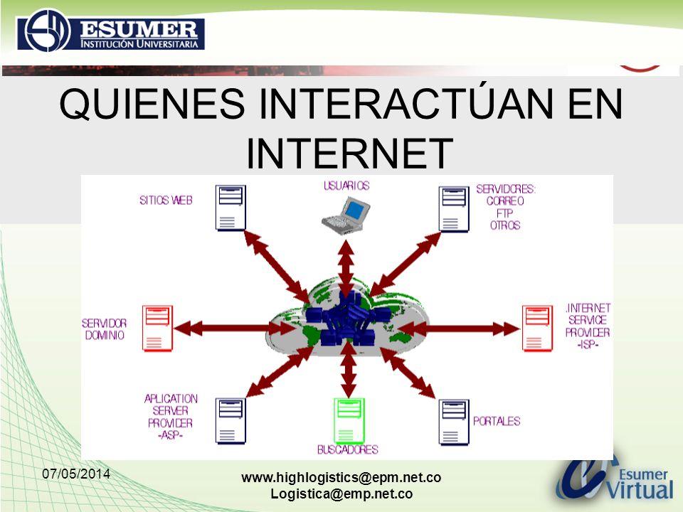07/05/2014 www.highlogistics@epm.net.co Logistica@emp.net.co QUIENES INTERACTÚAN EN INTERNET