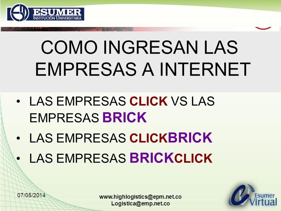 07/05/2014 www.highlogistics@epm.net.co Logistica@emp.net.co COMO INGRESAN LAS EMPRESAS A INTERNET LAS EMPRESAS CLICK VS LAS EMPRESAS BRICK LAS EMPRES
