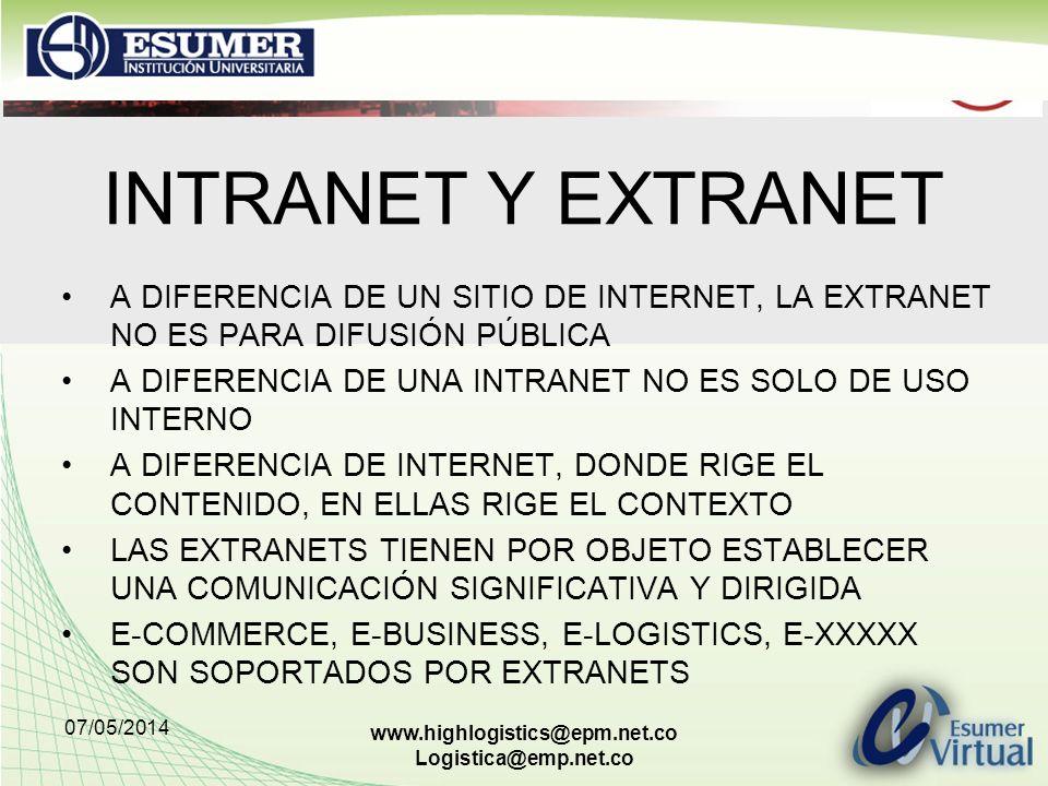 07/05/2014 www.highlogistics@epm.net.co Logistica@emp.net.co INTRANET Y EXTRANET A DIFERENCIA DE UN SITIO DE INTERNET, LA EXTRANET NO ES PARA DIFUSIÓN