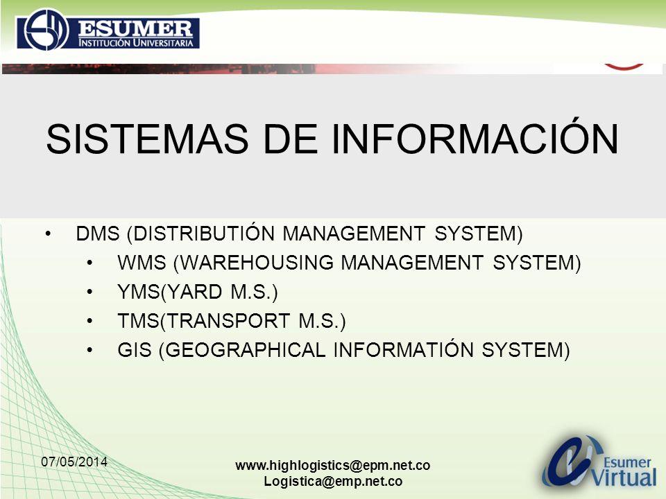 07/05/2014 www.highlogistics@epm.net.co Logistica@emp.net.co SISTEMAS DE INFORMACIÓN DMS (DISTRIBUTIÓN MANAGEMENT SYSTEM) WMS (WAREHOUSING MANAGEMENT