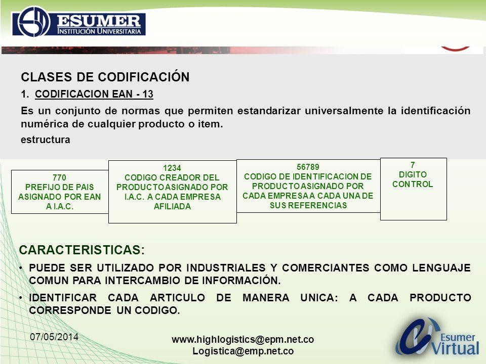 07/05/2014 www.highlogistics@epm.net.co Logistica@emp.net.co CLASES DE CODIFICACIÓN 1.CODIFICACION EAN - 13 Es un conjunto de normas que permiten esta