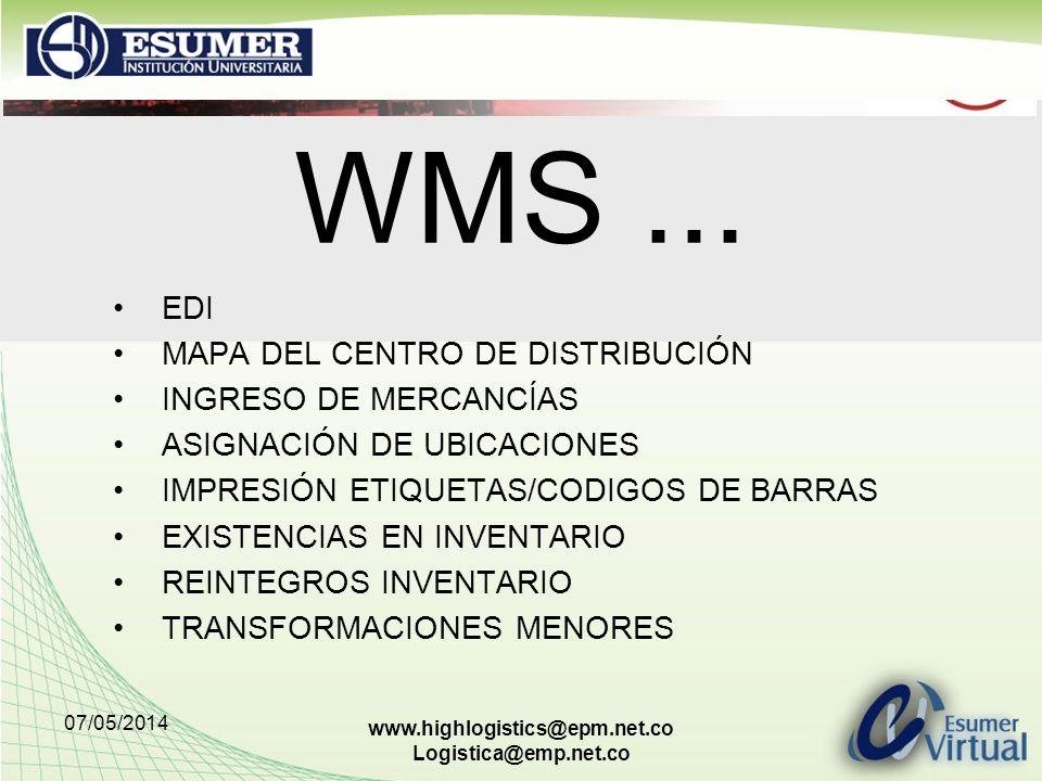 07/05/2014 www.highlogistics@epm.net.co Logistica@emp.net.co WMS... EDI MAPA DEL CENTRO DE DISTRIBUCIÓN INGRESO DE MERCANCÍAS ASIGNACIÓN DE UBICACIONE