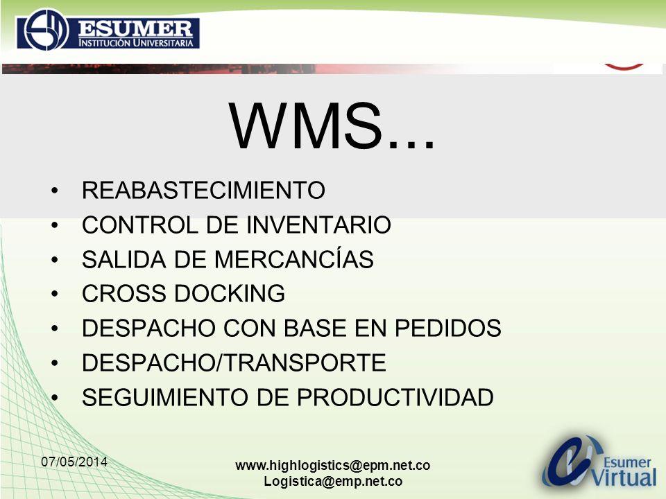 07/05/2014 www.highlogistics@epm.net.co Logistica@emp.net.co WMS... REABASTECIMIENTO CONTROL DE INVENTARIO SALIDA DE MERCANCÍAS CROSS DOCKING DESPACHO