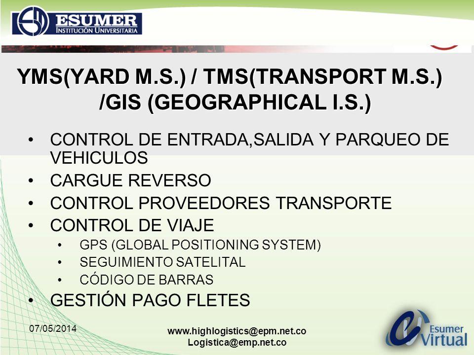 07/05/2014 www.highlogistics@epm.net.co Logistica@emp.net.co YMS(YARD M.S.) / TMS(TRANSPORT M.S.) /GIS (GEOGRAPHICAL I.S.) CONTROL DE ENTRADA,SALIDA Y