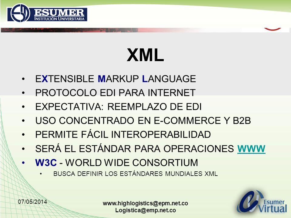 07/05/2014 www.highlogistics@epm.net.co Logistica@emp.net.co XML EXTENSIBLE MARKUP LANGUAGE PROTOCOLO EDI PARA INTERNET EXPECTATIVA: REEMPLAZO DE EDI