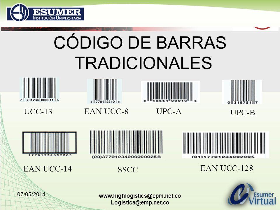 07/05/2014 www.highlogistics@epm.net.co Logistica@emp.net.co CÓDIGO DE BARRAS TRADICIONALES UCC-13 EAN UCC-8 UPC-A UPC-B EAN UCC-14 EAN UCC-128 SSCC