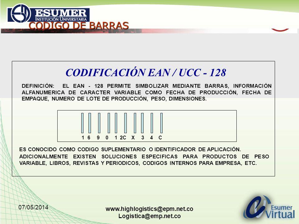 07/05/2014 www.highlogistics@epm.net.co Logistica@emp.net.co VENTAJAS DEL CODIGO DE BARRAS INDUSTRIALES CONOCIMIENTO DEL COMPORTAMIENTO DE LOS PRODUCTOS DEL MERCADO ESTABLECIMIENTO DE UN LENGUAJE COMUN CON SUS CLIENTES.