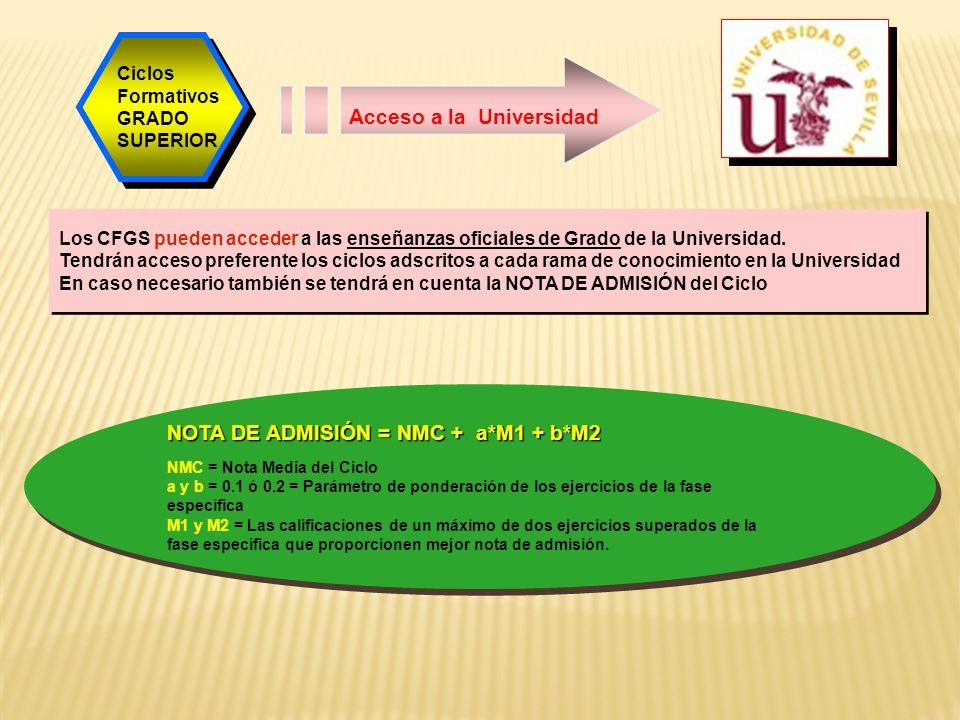 Acceso a la Universidad Los CFGS pueden acceder a las enseñanzas oficiales de Grado de la Universidad.