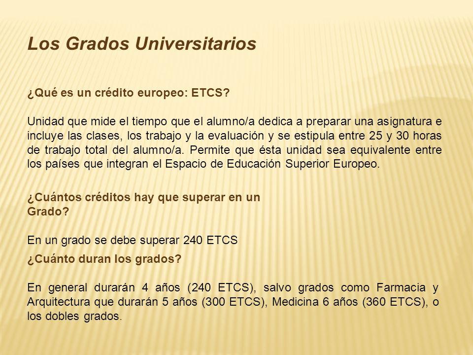 Los Grados Universitarios ¿Qué es un crédito europeo: ETCS.