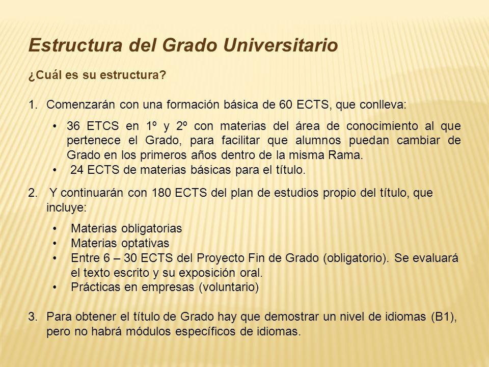 Estructura del Grado Universitario ¿Cuál es su estructura.
