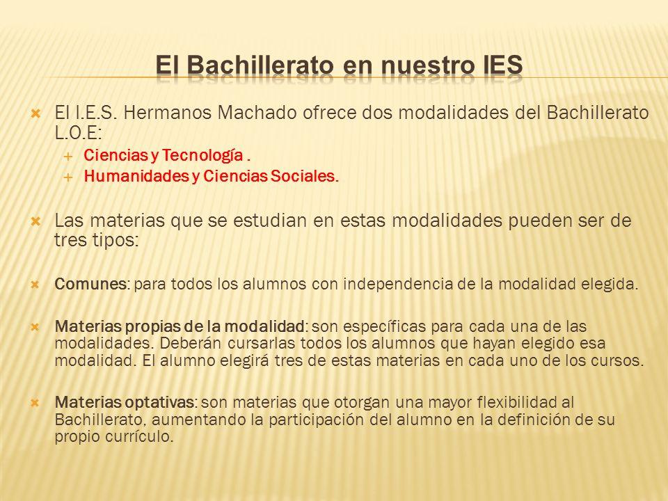 El I.E.S.Hermanos Machado ofrece dos modalidades del Bachillerato L.O.E: Ciencias y Tecnología.