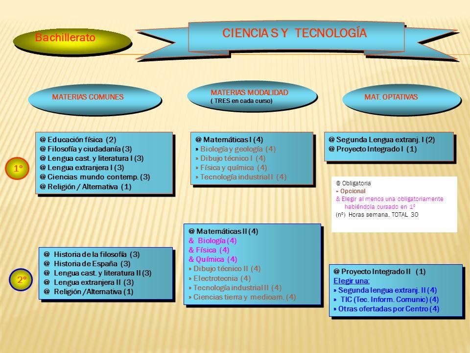 Bachillerato @ Matemáticas I (4) » Biología y geología (4) » Dibujo técnico I (4) » Física y química (4) » Tecnología industrial I (4) @ Matemáticas I (4) » Biología y geología (4) » Dibujo técnico I (4) » Física y química (4) » Tecnología industrial I (4) CIENCIA S Y TECNOLOGÍA @ Segunda Lengua extranj.