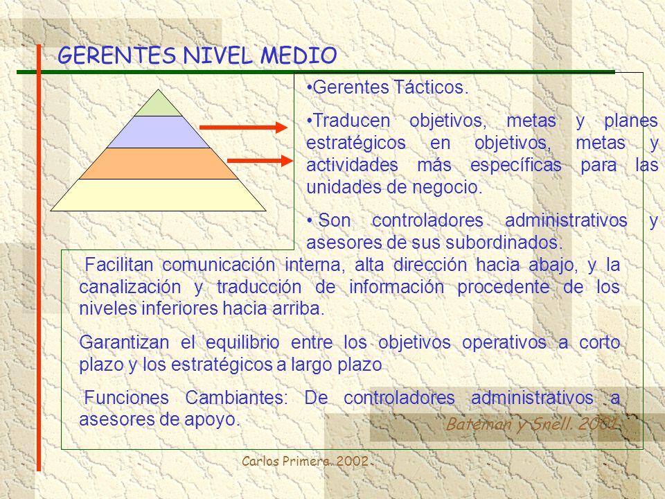 Carlos Primera. 2002 GERENTES NIVEL MEDIO Bateman y Snell. 2001 Facilitan comunicación interna, alta dirección hacia abajo, y la canalización y traduc