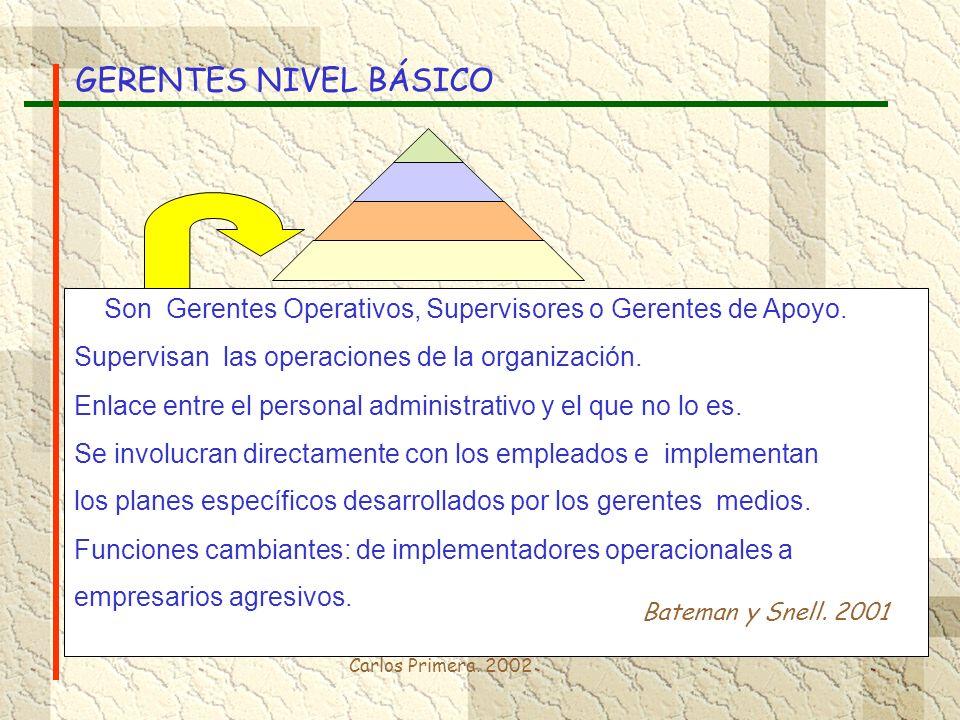 Carlos Primera. 2002 Son Gerentes Operativos, Supervisores o Gerentes de Apoyo. Supervisan las operaciones de la organización. Enlace entre el persona