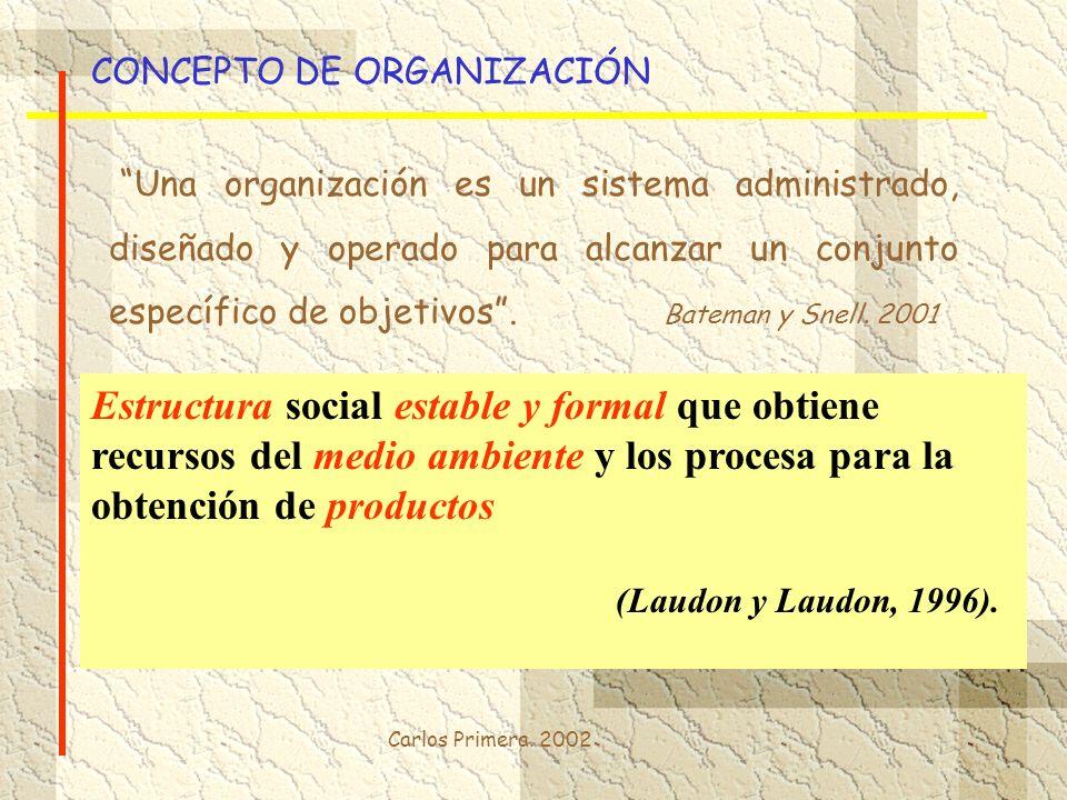 Carlos Primera. 2002 CONCEPTO DE ORGANIZACIÓN Una organización es un sistema administrado, diseñado y operado para alcanzar un conjunto específico de