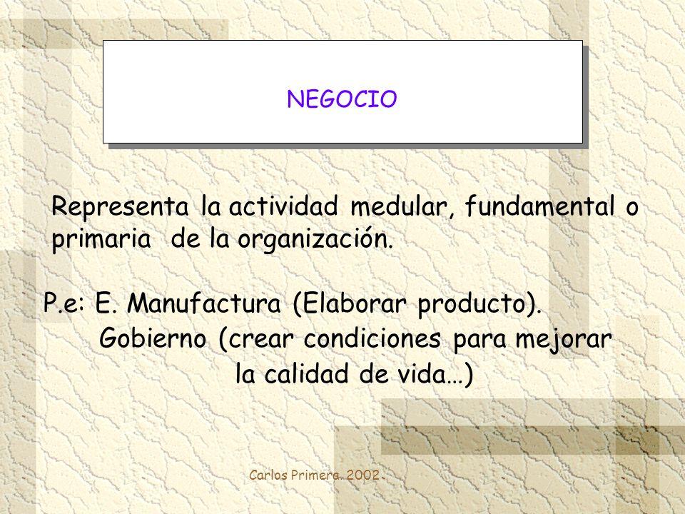 Carlos Primera. 2002 Representa la actividad medular, fundamental o primaria de la organización. P.e: E. Manufactura (Elaborar producto). Gobierno (cr