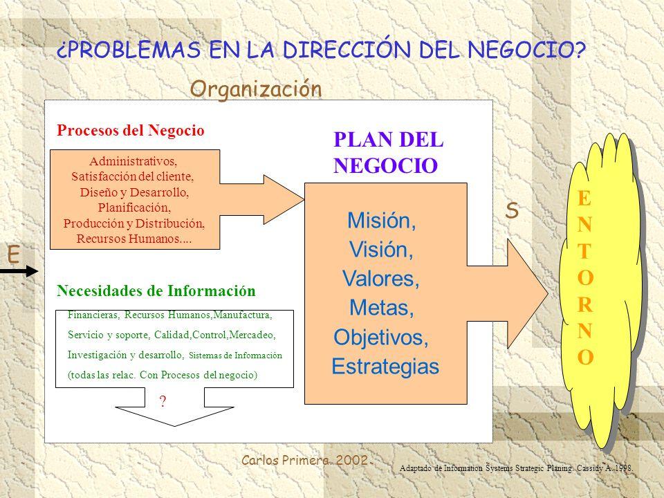 Carlos Primera. 2002 ¿PROBLEMAS EN LA DIRECCIÓN DEL NEGOCIO? Misión, Visión, Valores, Metas, Objetivos, Estrategias PLAN DEL NEGOCIO Administrativos,