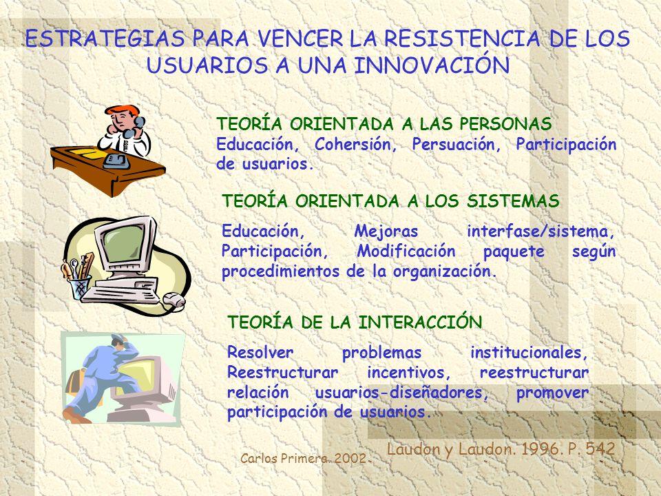 Carlos Primera. 2002 ESTRATEGIAS PARA VENCER LA RESISTENCIA DE LOS USUARIOS A UNA INNOVACIÓN Laudon y Laudon. 1996. P. 542 TEORÍA ORIENTADA A LAS PERS