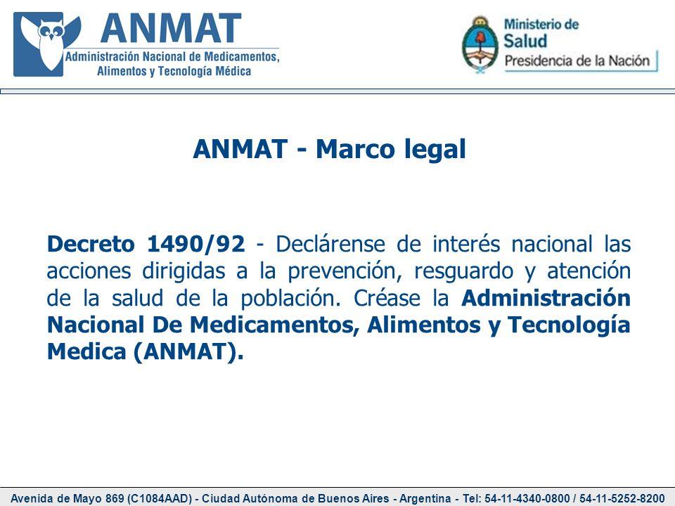 Avenida de Mayo 869 (C1084AAD) - Ciudad Autónoma de Buenos Aires - Argentina - Tel: 54-11-4340-0800 / 54-11-5252-8200 ANMAT - Marco legal Decreto 1490