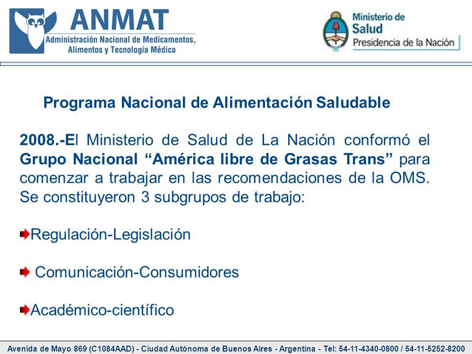 Avenida de Mayo 869 (C1084AAD) - Ciudad Autónoma de Buenos Aires - Argentina - Tel: 54-11-4340-0800 / 54-11-5252-8200 Programa Nacional de Alimentació