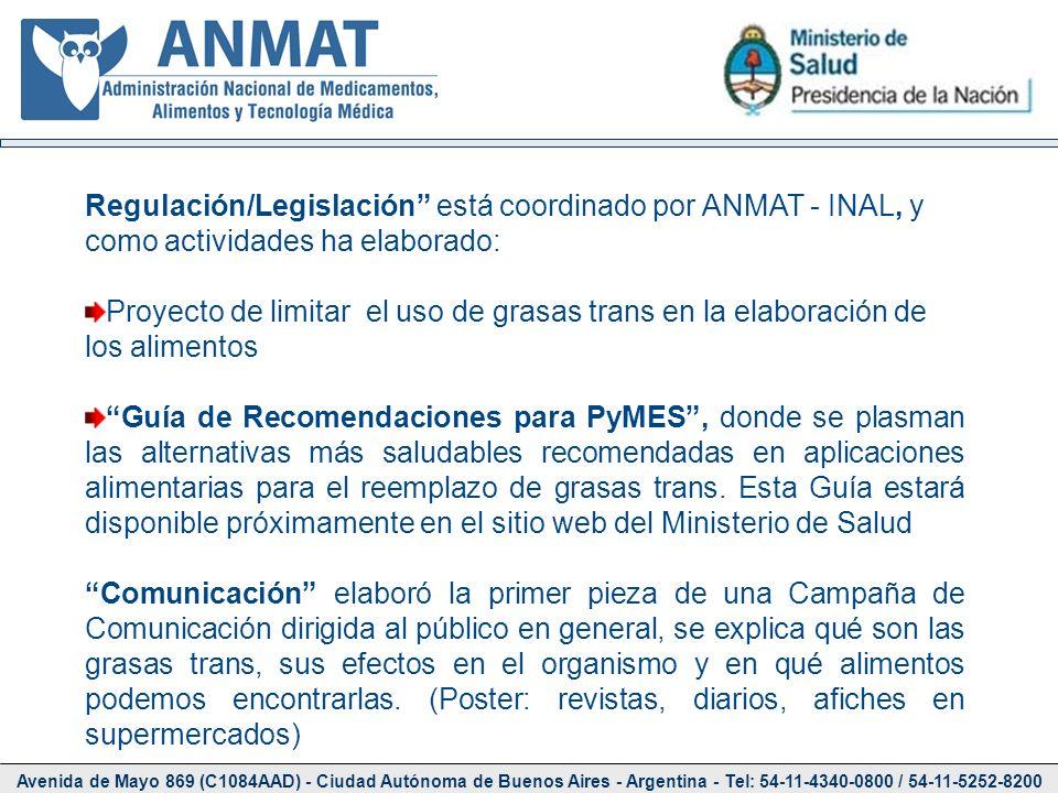 Avenida de Mayo 869 (C1084AAD) - Ciudad Autónoma de Buenos Aires - Argentina - Tel: 54-11-4340-0800 / 54-11-5252-8200 Regulación/Legislación está coor