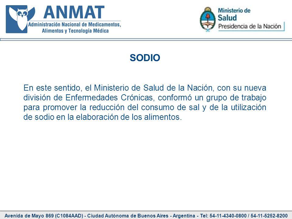 Avenida de Mayo 869 (C1084AAD) - Ciudad Autónoma de Buenos Aires - Argentina - Tel: 54-11-4340-0800 / 54-11-5252-8200 SODIO En este sentido, el Minist