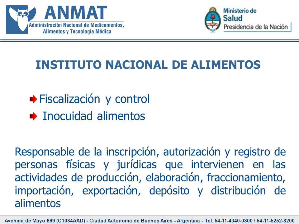 Avenida de Mayo 869 (C1084AAD) - Ciudad Autónoma de Buenos Aires - Argentina - Tel: 54-11-4340-0800 / 54-11-5252-8200 INSTITUTO NACIONAL DE ALIMENTOS