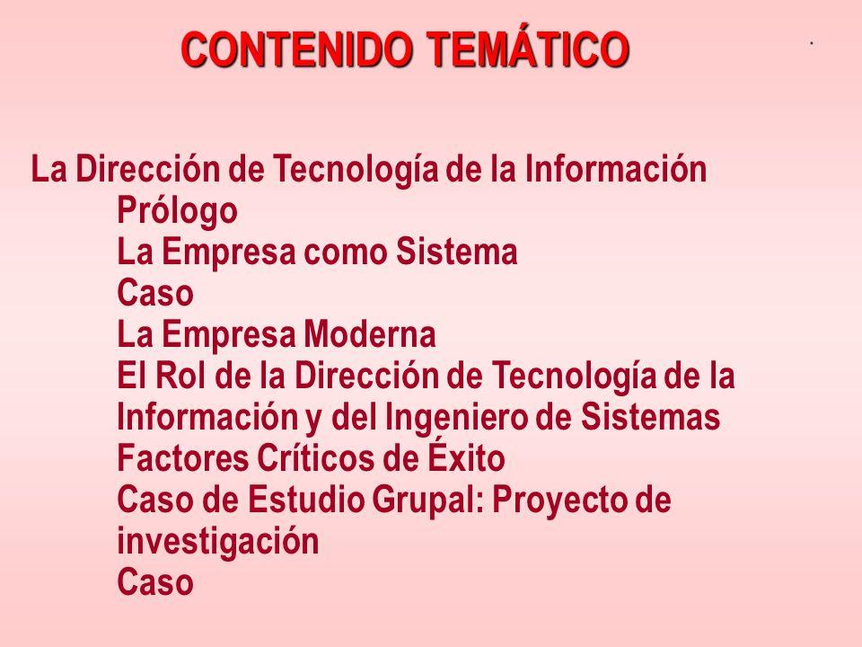 CONTENIDO TEMÁTICO La Dirección de Tecnología de la Información Prólogo La Empresa como Sistema Caso La Empresa Moderna El Rol de la Dirección de Tecn