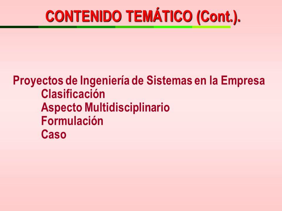 Proyectos de Ingeniería de Sistemas en la Empresa Clasificación Aspecto Multidisciplinario Formulación Caso CONTENIDO TEMÁTICO (Cont.).