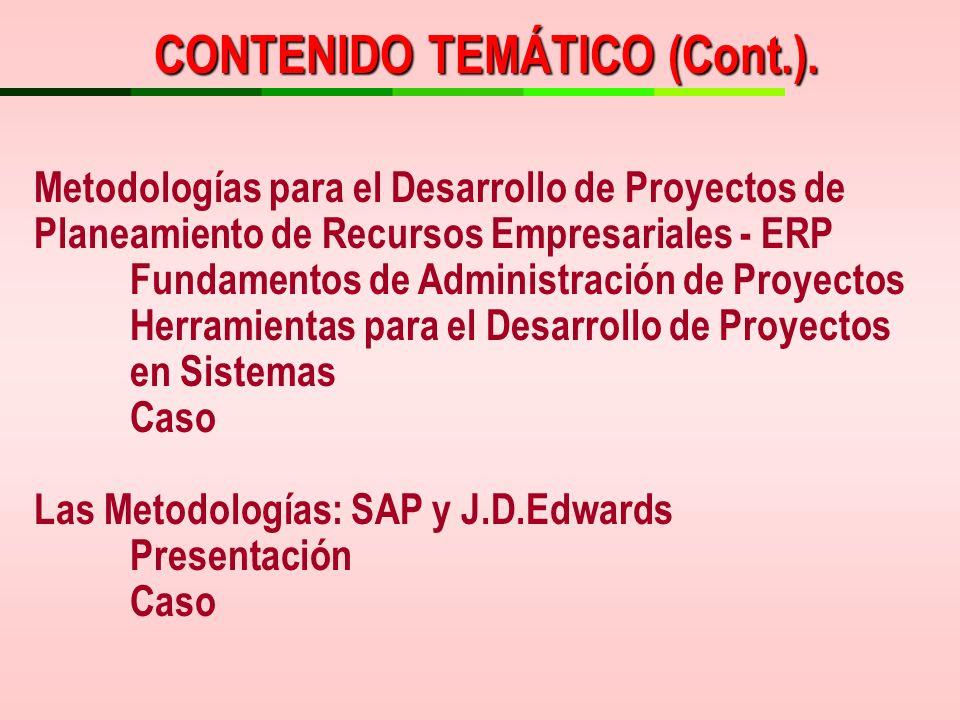Metodologías para el Desarrollo de Proyectos de Planeamiento de Recursos Empresariales - ERP Fundamentos de Administración de Proyectos Herramientas p