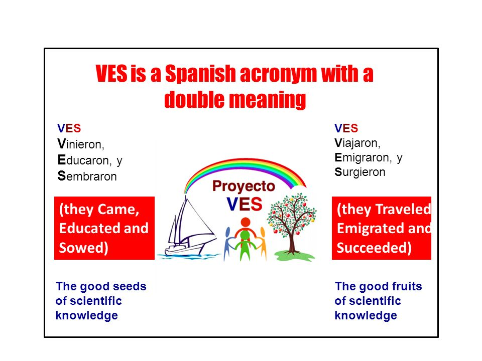 The good fruits of scientific knowledge The good seeds of scientific knowledge VES Viajaron, Emigraron, y Surgieron VES V inieron, E ducaron, y S embraron VES is a Spanish acronym with a double meaning (they Came, Educated and Sowed) (they Traveled, Emigrated and Succeeded)