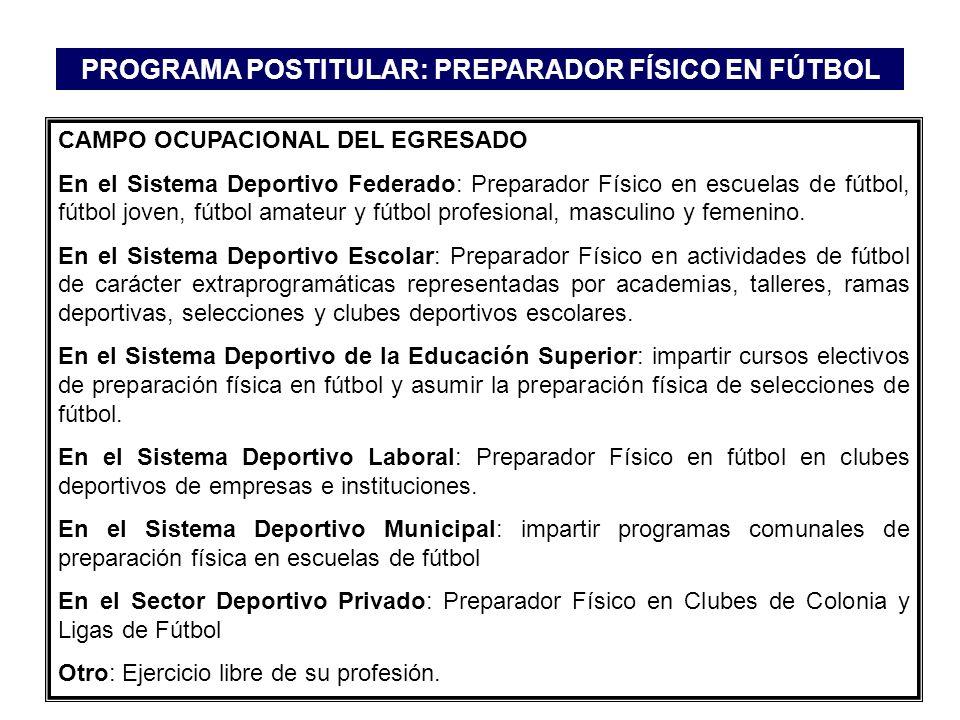 CAMPO OCUPACIONAL DEL EGRESADO En el Sistema Deportivo Federado: Preparador Físico en escuelas de fútbol, fútbol joven, fútbol amateur y fútbol profes