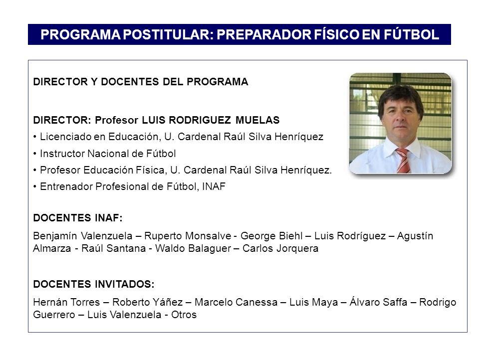 DIRECTOR Y DOCENTES DEL PROGRAMA DIRECTOR: Profesor LUIS RODRIGUEZ MUELAS Licenciado en Educación, U. Cardenal Raúl Silva Henríquez Instructor Naciona