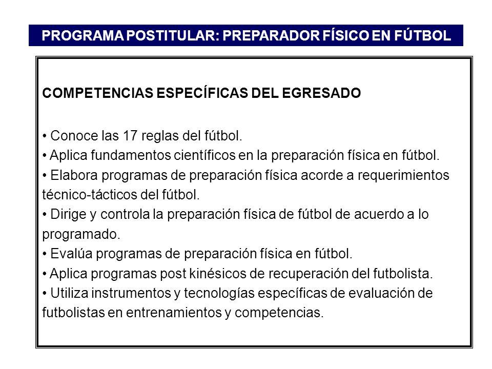 COMPETENCIAS ESPECÍFICAS DEL EGRESADO Conoce las 17 reglas del fútbol. Aplica fundamentos científicos en la preparación física en fútbol. Elabora prog