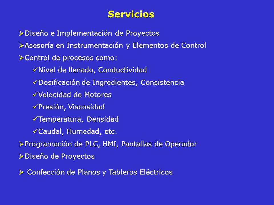 Servicios Diseño e Implementación de Proyectos Asesoría en Instrumentación y Elementos de Control Control de procesos como: Nivel de llenado, Conducti