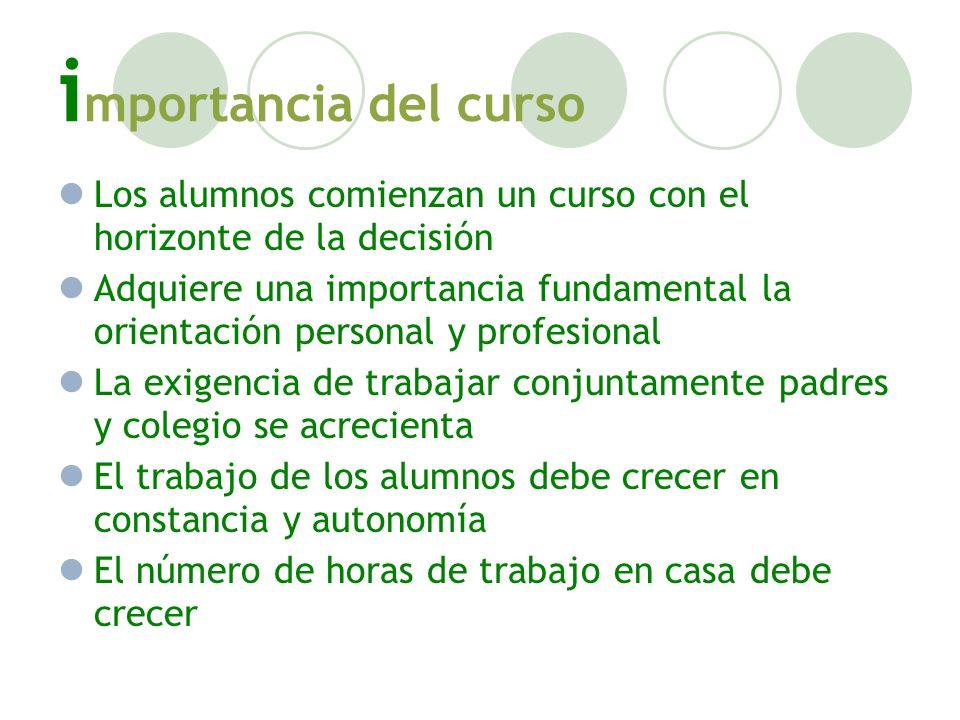 i mportancia del curso Los alumnos comienzan un curso con el horizonte de la decisión Adquiere una importancia fundamental la orientación personal y p