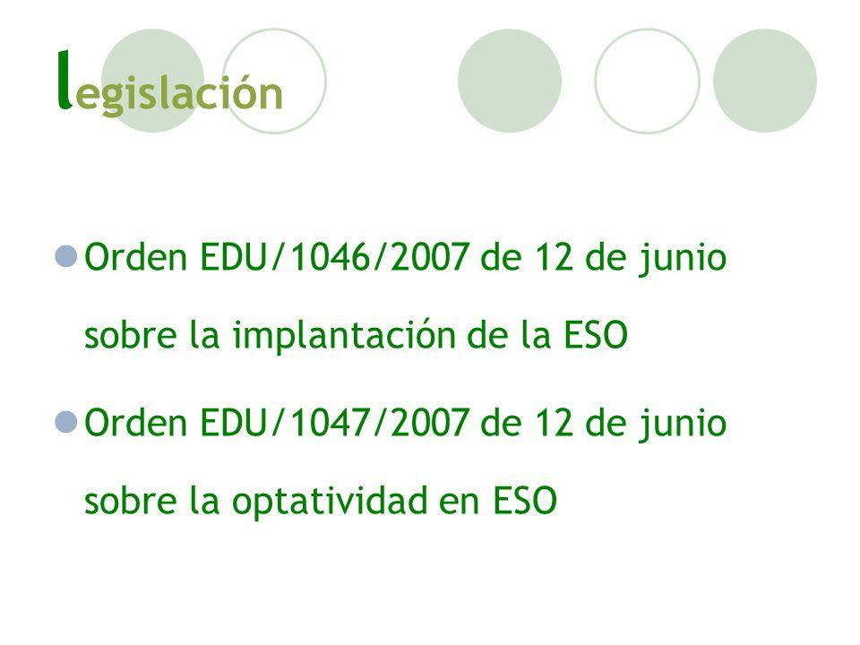 l egislación Orden EDU/1046/2007 de 12 de junio sobre la implantación de la ESO Orden EDU/1047/2007 de 12 de junio sobre la optatividad en ESO