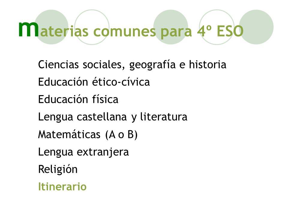m aterias comunes para 4º ESO Ciencias sociales, geografía e historia Educación ético-cívica Educación física Lengua castellana y literatura Matemátic