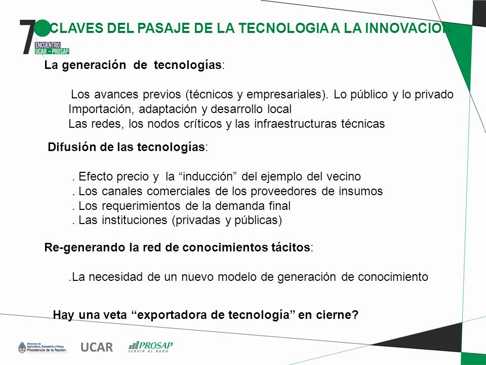 CLAVES DEL PASAJE DE LA TECNOLOGIA A LA INNOVACION La generación de tecnologías: Los avances previos (técnicos y empresariales). Lo público y lo priva