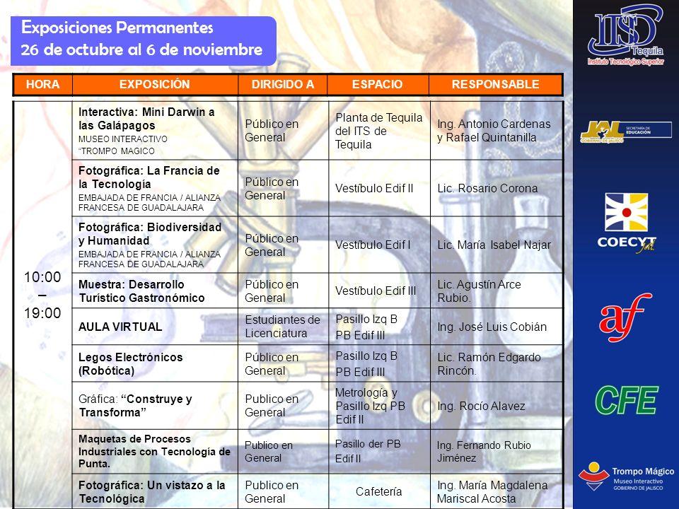 E xposiciones Permanentes 26 de octubre al 6 de noviembre HORAEXPOSICIÓNDIRIGIDO AESPACIORESPONSABLE 10:00 – 19:00 Interactiva: Mini Darwin a las Galá
