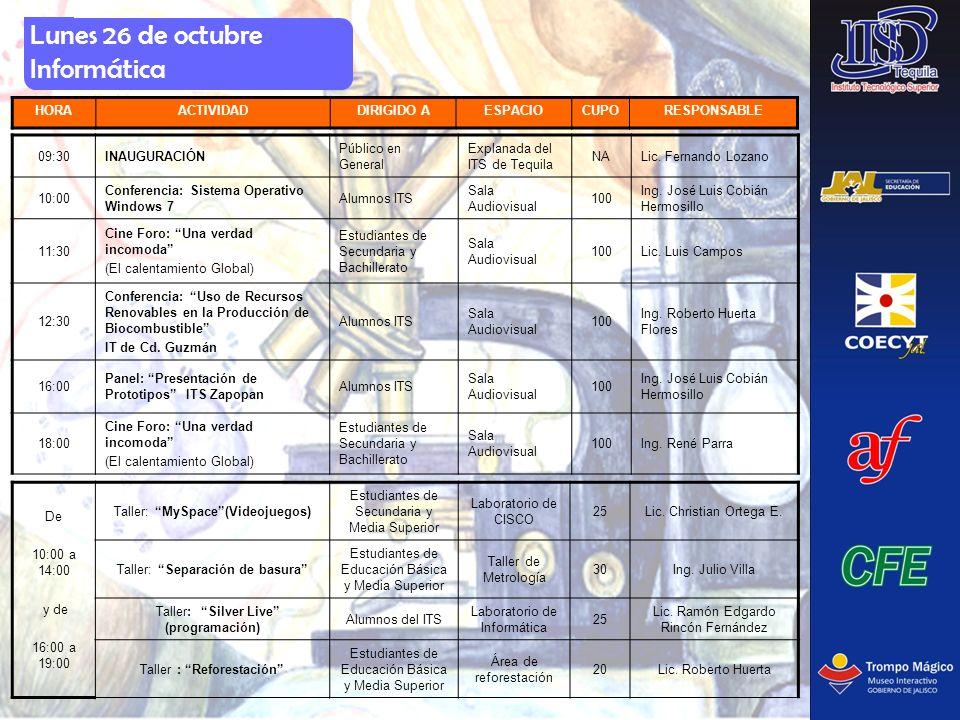 Lunes 26 de octubre Informática HORAACTIVIDADDIRIGIDO AESPACIOCUPORESPONSABLE 09:30INAUGURACIÓN Público en General Explanada del ITS de Tequila NALic.